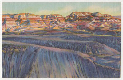 Painted Desert, Blue Forest, Arizona c1935 Evening Shadows, vintage postcard