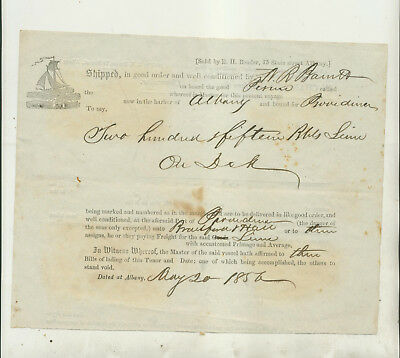 "1856 Bill Of Lading Document For Ship ""perine"" In Albany Ny Harbor To Providence"