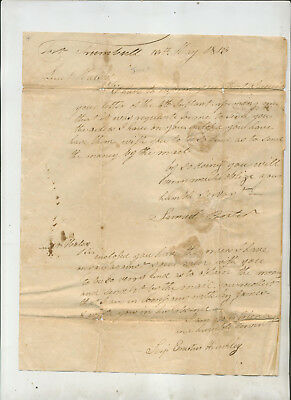 1813 Two Letters To Lieutenant Halsey Fort Trumbull Ct