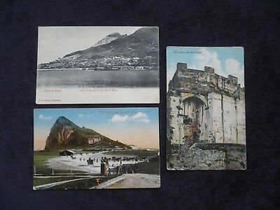 3 Old Postcards Gibraltar, Moorish Castle, The Rock From Spanish Lines, New Mole