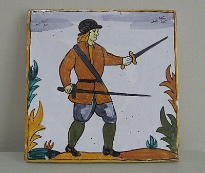 Earthenware Tile MAN WITH SWORDS Rustic Vintage Spanish? 5.5""