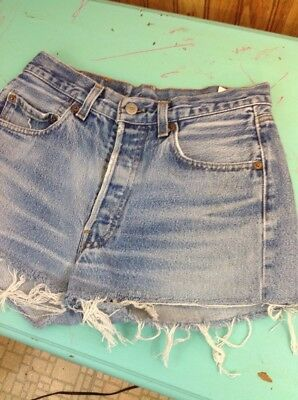 vintage levis cut-offs denim jean shorts button fly 501 cut off 70's 80's 28 1/2