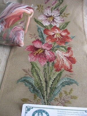 QUEEN ADELAIDE Trammed TAPESTRY & WOOL no:7517 Floral Spray ORCHIDS