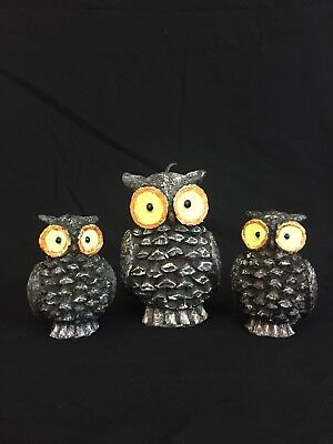 Vintage Wax Owl Family Candles Mom & 2 Babies Dark Brown Yellow Eyes Never Used