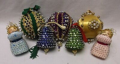 Vintage Group Of 7 Sequin Handmade Christmas Ornaments