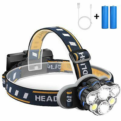 90000LM 5X XM-L T6 LED Headlamp Head Light Flashlight Head Torch 2x Battery