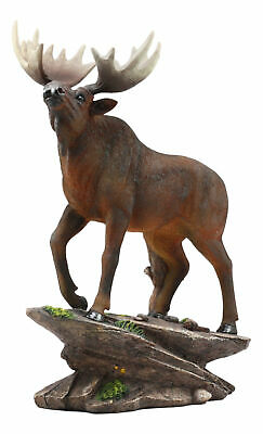 "The Emperor Pride Wildlife Realistic Bull Moose Standing On Rock Statue 13.5""H"