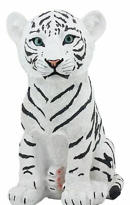 "Large 10""H White Tiger Cub Statue Figurine Home Decor Wild Life Animal"