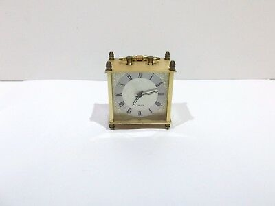 Vintage EQUITY small brass wind up alarm clock carriage clock