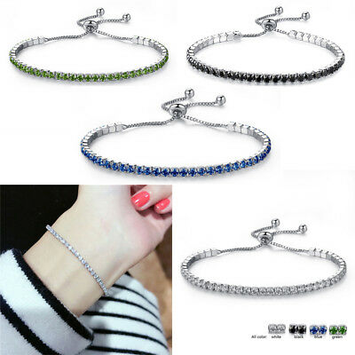 Women Fashion Rhinestone Crystal Zircon Bracelet Adjustable Bangle Cuff Jewelry