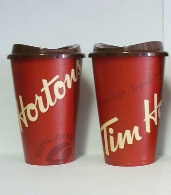 2 Classic Tim Hortons Logo Canada Reusable Travel Cup 12oz  w/ Lid 2018 Edition