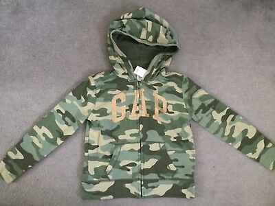 Gap Khaki Camouflage Hoodie With Gold Glitter Logo & Zip Up Centre With Hood -Bn