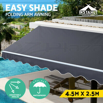 Instahut 4.5M x 2.5M Outdoor Folding Arm Awning Retractable Sunshade Canopy Grey