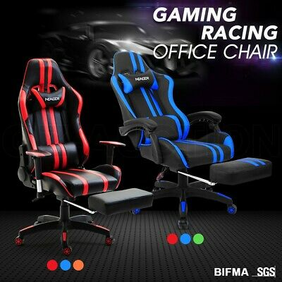 Ergonomic Gaming Racing Office Computer Chair PU Leather Recliner Seat Footrest