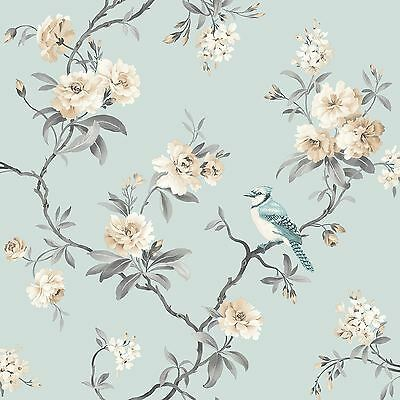 Chinoiserie Bird Wallpaper Rolls - Duck Egg Blue - Fine Decor Fd40765 Floral