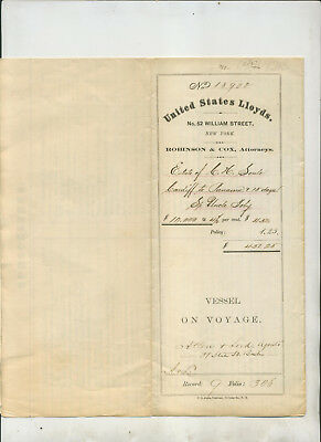 1871 United States Lloyd Vessel On Voyage Document Insurance Policy