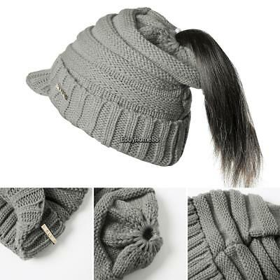 Women Fashion Winter Warm Messy With Brim Hair Ponytail Wool Knitted Hat EHE8