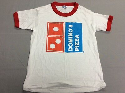 Vintage 80S Dominos Pizza Hanes White Ringer 50/50 T-Shirt Youth Kids Medium