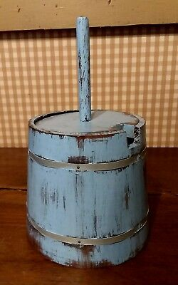 """8"""" Replica table top wood primitive antique Butter Churn with dasher blue paint"""