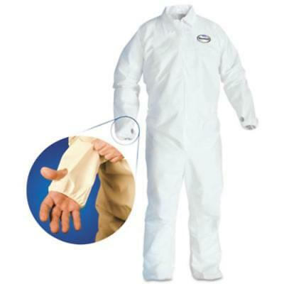Kimberly-Clark 42527 A40 Breathable Back Coverall With Thumb Hole, White/blue,