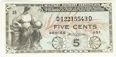 Series 481 5c Five Cents Military Payment Certificate You Grade It O671