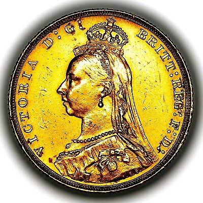 1888 Queen Victoria Great Britain London Mint Gold Sovereign Coin