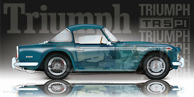 Triumph Tr5 Valencia Blue Cutaway Artwork Amazing Detail Artist Signed Ltd Ed