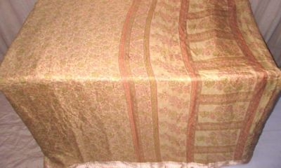 Cream Peach Pure Silk 4 yd Vintage Antique Sari Saree Gift for Mother UK #98ESW