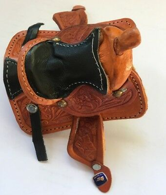 Western Miniature Horse Saddle Christmas Ornament - Leather- Black Seat - New