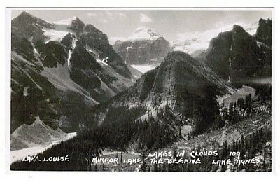 Four Lakes In Clouds Banff Canada Byron Harmon Real Photo Postcard 109