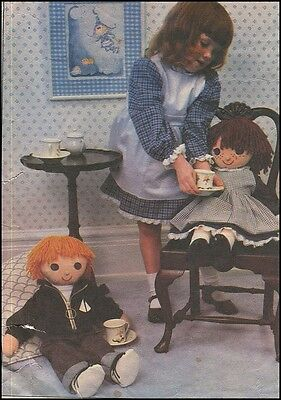 """1970s Vintage 24"""" Stuffed Huggable Boy Girl Cloth Doll + Clothes Sewing Pattern"""
