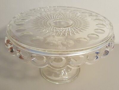 Vintage McKee Glass Plymouth Thumbprint Lace Edge Pedestal Cake Plate Rum Well