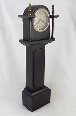 Vintage Black Ebonised Mahogany Miniature Working Grandfather Clock - Serviced