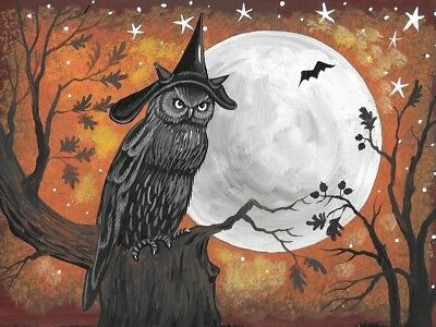 1.5x2 DOLLHOUSE MINIATURE PRINT OF PAINTING RYTA 1:12 SCALE HALLOWEEN WITCH OWL