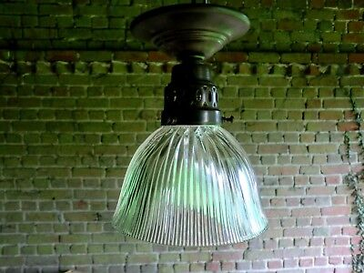 Antique Vintage French Edwardian Holophane Light With Gallery