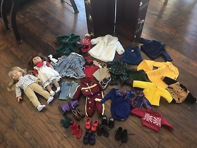 Lot American Girl Doll Little Sister Sis Battat Trunk Dolls Clothes Shoes Gots