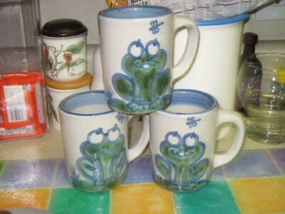 M A Hadley Coffee Mugs Cups Frog RIBBIT! Excellent!!! 3 available buy 1 or 2