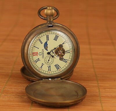 rare usable Chinese Old copper Hand Machinery Statue royal flexo pocket watch