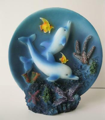 """DOLPHINS Swim Underwater on this 5"""" Stand-Up Plate Plaque Resin Sea Life Fish"""