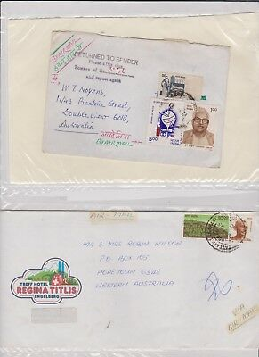INDIA 2  OLD STAMP COVERS 1 RETURN grandpa special E