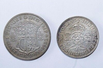 1932 1/2 Crown & 1943 2 Shillings Great Britain UK Lot 2 Valuable Silver Coins