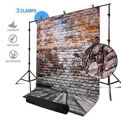6ft x 10ft Photo Studio Brick Wall Background w/Backdrop Stand & 3 Spring Clamps