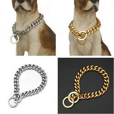 12-19mm Heavy Duty Stainless Steel Chain Dog Collars Slip Dog Training Collar