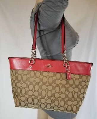 4077bb589d Mint COACH HANDBAG signature SOPHIA Sm TOTE purse shoulder bag KHAKI/TRUE  RED