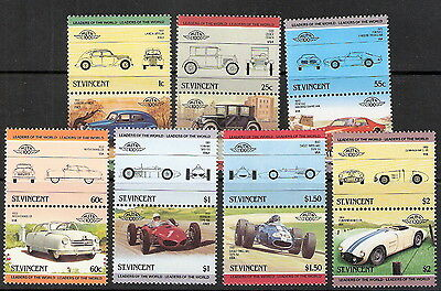 St Vincent 1985 Cars Se-Tenant Pairs Side, Front, Action Views MNH (SC# 815-821)