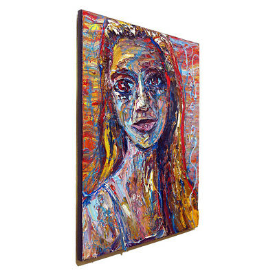 Art Realism█Signed Abstract A Modern Original█Oil Painting█Vintage█Look█Outsider