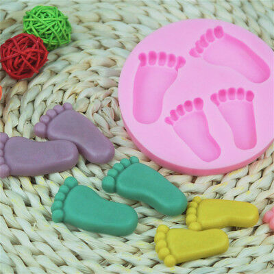 Baby Shower Feet Shape Cookie Biscuit Chocolate Mold Fondant Cake Silicone Mould