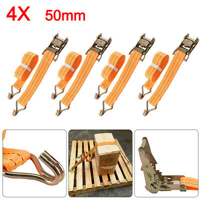 4 x 50mmX6 Meter Ratchet Tie Down Straps 2 tons Claw Lorry Lashing  Handy Straps