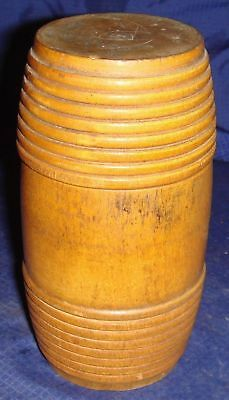 SE709 Antique Vtg Hand Made Turned Wooden Wood Container Trinket Box