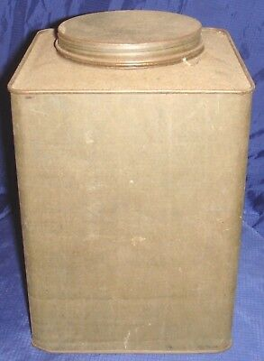 SE700 Antique Vtg Large Square Metal Tea Tin Can Hoosier Storage Container w Lid